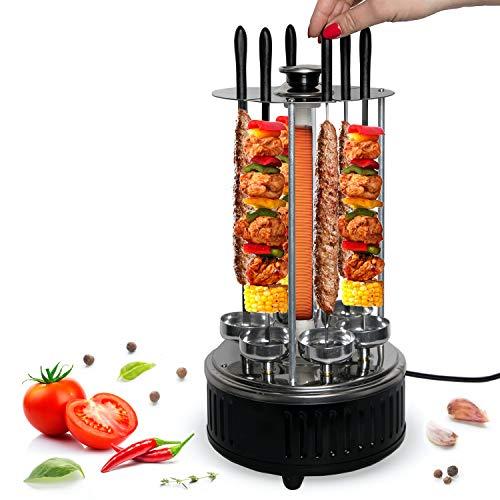Tischgrill Elektrisch - Schaschlik Elektrogrill - Schaschlik- Gyros-, Kebab-, Dönerfleisch-, Dreh-Spießgrill - Elektrischer Dönergrill für Zuhause
