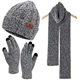 Womens Winter Warm Knit Beanie Hat Touchscreen Gloves Long Scarf Set with Fleece Lined Skull Caps Neck Scarves for Women Men