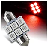 EPARTS 1 X 41mm 16 SMD Red LED Car Interior Festoon Dome Map Glove Box Trunk Replacement Light Bulb Universal Car Truck