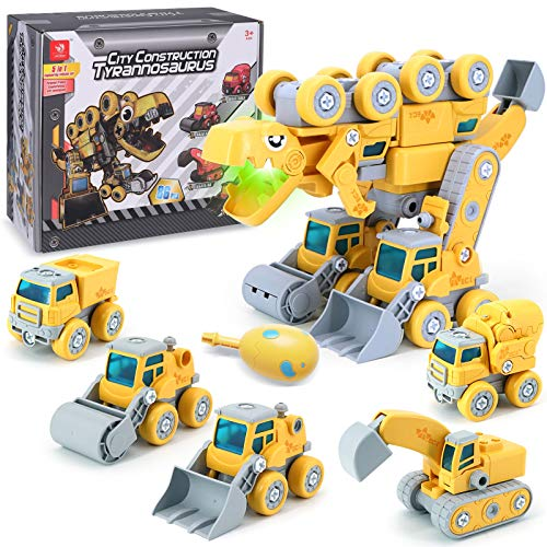 Monster Dinosaur Toys from 5 in 1 DIY Construction Trucks for 3 4 5 6 7 8 Year Old KidsYellow
