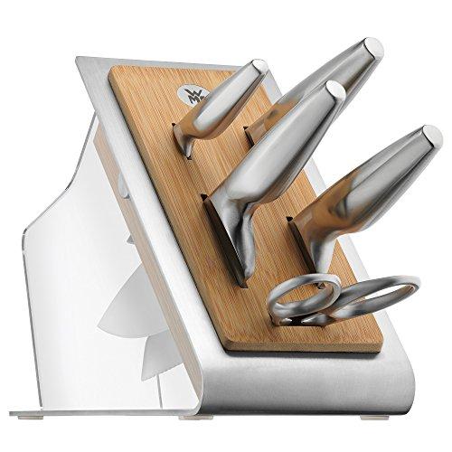 WMF Chef's Edition Messerblock mit Messerset 6teilig, Spezialklingenstahl, 4 Messer geschmiedet, Schere, Block-Bambus, Kunststoff, Edelstahl, Performance Cut