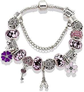 The Eiffel Tower castle beaded glass bead bracelet purple 20cm,WISA001