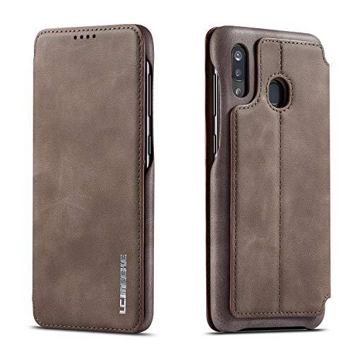 QLTYPRI - Custodia per Samsung Galaxy A40, con chiusura magnetica, stile vintage, in pelle PU, con funzione di supporto e porta carte di credito, antiurto, per Samsung Galaxy A40, colore: Marrone