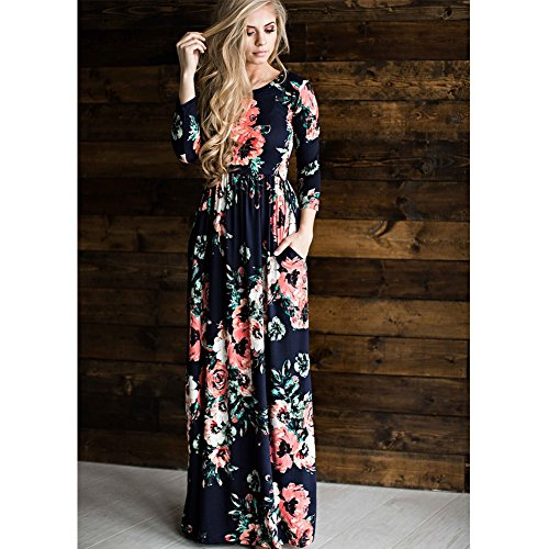 HOOYON Women's Casual Floral Printed Long Maxi Dress with Pockets(S-5XL),Royal Blue,Small