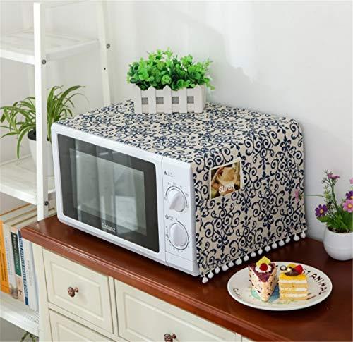 Annchaos - Funda para horno de microondas, antipolvo, aceite, con bolsillos de almacenamiento, algodón, lino, cocina, tostadora (porcelana azul y blanca)