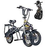Bicicleta Eléctrica, Triciclo Eléctrico para Adultos Plegables Tres Ruedas, Bicicleta Eléctrica De Montaña, Scooter De hasta 30 Km/H Doble Batería De Litio, Tres Modos De Velocidad Grande