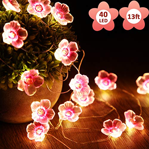Blumen-Lichterkette, rosa Blume, dekorative Lichterkette, 4 m, 40 LEDs, warm, batteriebetrieben, hängende Lichter für Schlafzimmer, Indoor, Outdoor, Hochzeit und Valentinstag