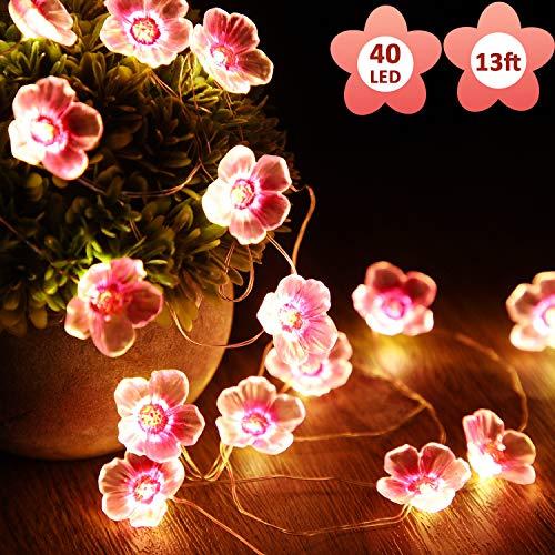 Cadena de luces de hadas rosa cerezo flor de 13 pies 40 LED USB y funciona con pilas luces decorativas para niñas dormitorio interior exterior boda y día de San Valentín