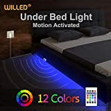 Under Bed Light, WILLED RGB Color Changing 5ft LED Strip with Motion Activated Sensor, RF Remote Controller Timer, Power Adapter for Bed, Stairs, Cabinet and Bathroom