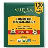 VAHDAM, BIO Kurkuma + Ashwagandha SUPERFOOD Kräutertee, 100 Teebeutel | Indiens alte Mischung aus Kurkuma & Gartenfrischen Gewürzen | Organisch Kurkuma Tee | Entgiftungstee | Kräutertee 100 Anzahl