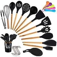 topseas utensili da cucina,utensili cucina in silicone(14 pezzi),manico in legno duro utensili da cucina termoresistenti professionali resistente al calore e antiaderente strumento di cottura