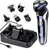Electric Razor for Men, MANLI 5 in 1 Hair Clipper Rotary Shaver Beard Trimmer, Wet Dry Men Shaver Waterproof USB Fast Charging, Cordless Beard, Nose, Hair Trimmer, Best Gift for Men Dad