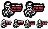 Set 6 Adesivi Stickers DAKAR GS Motorrad Red & Blu