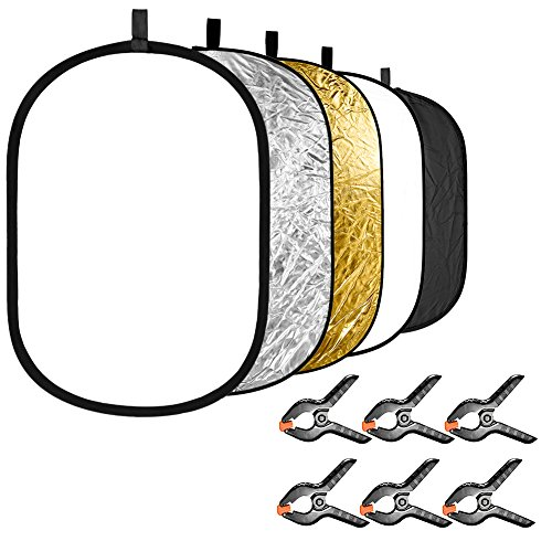 Neewer 5-en-1 Fotografía Reflector de Luz con Paquete de 6 Abrazaderas de Fondo Kit: Oval Portátil 60x90 Centímetros Disco Reflector Plegable (Translúcido Plata Dorado Blanco Negro) para Foto Estudio
