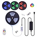 60Ft 24V Long Run RGB LED Strip Tape Light Multi-Colors Changing RF Touch Remote Controller DIY Cut to Length Ceiling Wall Crown Molding Ambient Strip Bar Light Kit