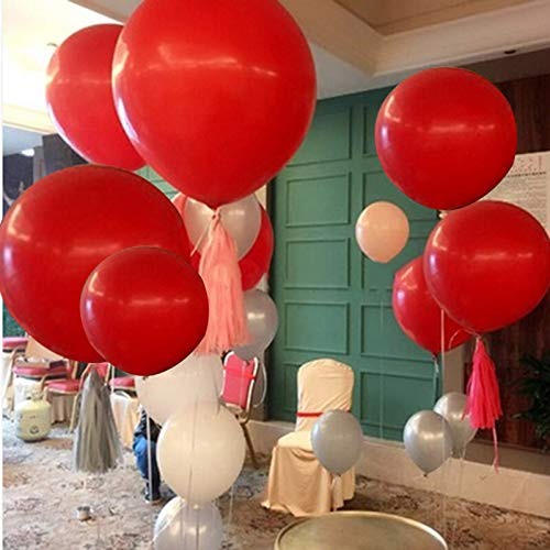 5pcs Large Red Balloons Latex 36 Inch Big Balloons Red Giant Helium Balloons Jumbo Red Balloon for Wedding Birthday Party Festivals Event Decorations