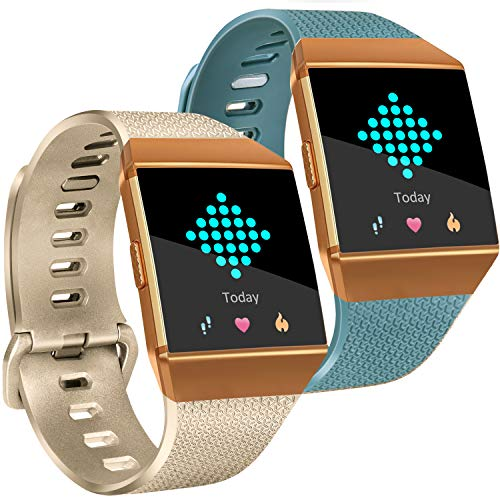 Tobfit Compatible with Fitbit Ionic Bands, Soft TPU Sport Arm Wristband Accessories for Women Men, Small, Champagne Gold, Slate