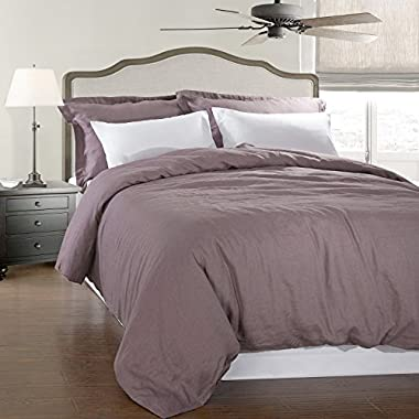 Simple&Opulence 100% Linen Stone Washed 3pcs Basic Style Solid Duvet Cover Set (King, Purple)