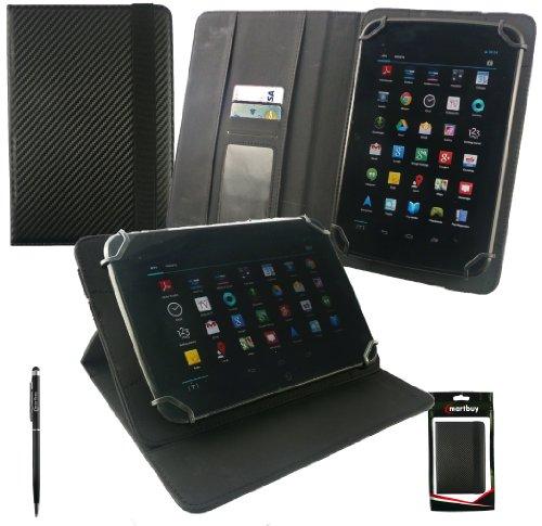 Emartbuy® Odys Rapid 7 LTE Weiß Edition 7 Zoll Tablet Universalbereich Schwarz Carbon PU LederMulti Angle Exekutiv Folio Mappen Kasten Abdeckung mit Kartensteckplätze + Schwarz 2 in 1 Eingabestift