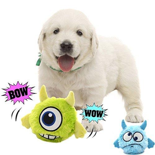 Pawsfun犬おもちゃ 電動おもちゃ 自動 音が鳴る スクィーカー入り 犬噛む ぬいぐるみ二個付き