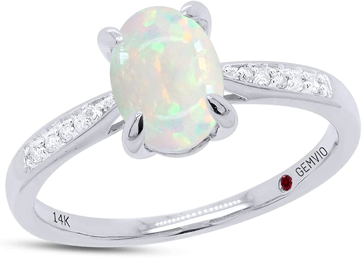 GEMVIO Collection Blush Oval Minneapolis Mall Cut Free shipping New 8X6MM Halo Natural White opal S