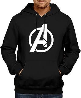 WearIndia Super Hero Avenger Printed Unisex Pullover Cotton Hoodies Sweatshirt for Men and Women (Black, XL)