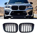 LDG X3 Grill Grille for BMW 2018-2021 X3 G01 2019-2021 X4 G02, ABS X3 Black Grill Kidney (Double Slats 2pcs set)