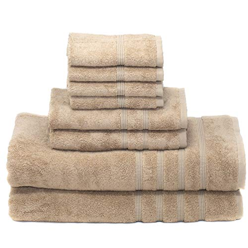 Mosobam 700 GSM Luxury Bamboo 8pc Extra Large Bathroom Set, Taupe, 2 Bath Towels Sheets 35X70 2 Hand Towels 16X30 4 Face Washcloths (Wash Cloth) 13X13, Bulk Prime Turkish Shower Towel Sets, Quick Dry