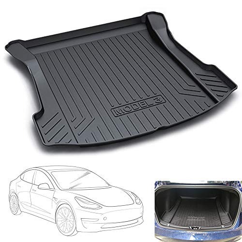 HZGrille Cargo Mat Trunk Liner Rear Cargo Liner Trunk Floor Mat for the Trunk Modification of Tesla Model 3,Providing All-Weather Protection