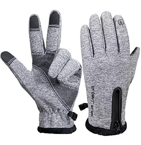 Winter Radfahren Handschuhe zum Männer Frauen Laufhandschuhe Fahrrad Touchscreen Warm Winddicht Wetterfest Isoliert Radfahren Vlies Beschichtung Draussen Wandern Fahren Sport Anti-Rutsch (grau, XL)