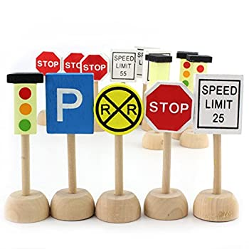 Attatoy Kids Wooden Street Signs Playset  14-Piece Set  Wood Traffic Signs Perfect for Car & Train Set