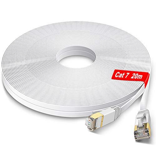 GLCON Cat7 Netzwerkkabel 20m High Speed Ethernet Kabel 600 MHz 10000 Mbit/s Flach LAN Kabel Kompatibel mit Switch/Router/Modem/Patch-Panel Weiß