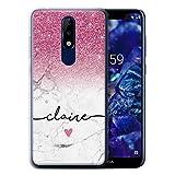 Personnalisé Coque pour Nokia 5.1 Plus/X5 2018 Ombre Pailleté Pink Sparkle White Marble Désign...