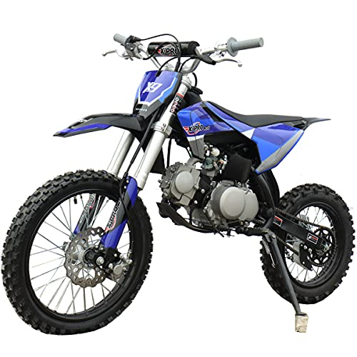 X-PRO 125cc Dirt Bike Pit Bike Adults Dirt Pit Bike 125 Dirt Bike Dirt Pitbike,Big 17'/14' Tires! Cradle Type Steel Tube Frame! (Blue)