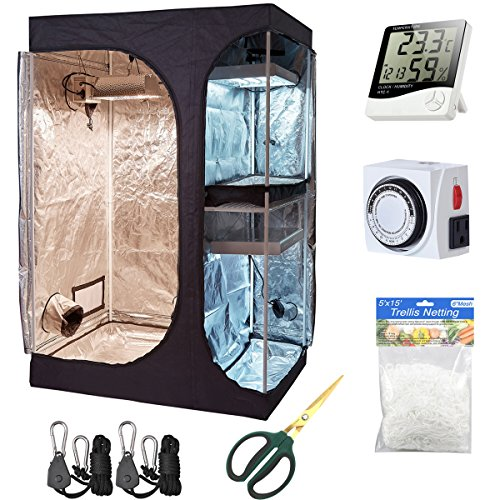 Hydro Plus Grow Tent Kit 48'x36'x72' 2-in-1 Indoor Plants Growing Dark Room Non Toxic Hut + Hydroponics Growing Setup Accessories (48'x36'x72' Kit)