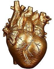 Baoblaze Anatomiskt hjärta skulpturer heminredning, hjärta vas harts staty, blomkruka skrivbord ornament, dekorativa figurer skulpturer för vardagsrum sovrum