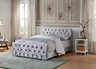 Home Treats Crushed Velvet Material Bed Frame | Double Bed Embossed With Diamante Jewels Plush Uphol...