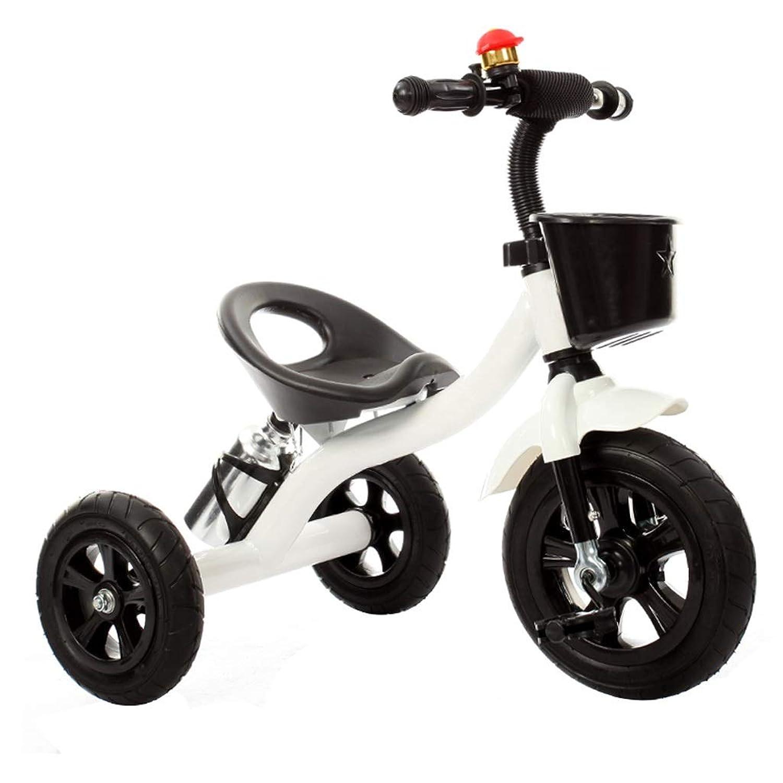 三輪車 三輪車子供の三輪車ベビーカーベビーカー男の子女の子2-5-6歳自転車鋼材2で1赤ちゃん三輪車5色 (Color : White)