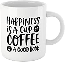 Book Lovers Reading Mug, BW Quote - Happiness is A Cup of Coffee & A Good Book - Bookworm Gifts, Funny Bookish Coffee Mug, Reader Gift, Teacher Gift!