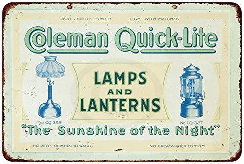 Yilooom Coleman Lampen & Lantaarn Quick-Lite Reproductie Metalen bord 8 X 12