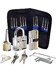 Lock Pick Set, 24 Stuk Lockpicks Transparant Training Hangslot en Credit Card Lock Picking Tools kit, voor Beginner en Slotenmaker Training