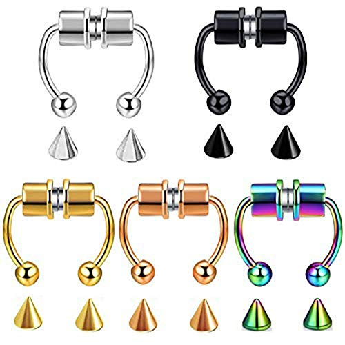 5Pcs Magnetic Fake Nose Ring Non-Pierced Clips on Septum Nostril Hoop Tragus Cartilage Rings Body Jewelry for Women Men