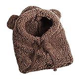 (モリミ)帽子 ガールズハット スカーフ 子供マフラー フード付き 熊耳付き ショール 裏起毛 防寒 冬 かわいい ファッション 学生 少女 韓国風 フワフワ もこもこ 柔らかい 肌触り良い (コーヒー,F)