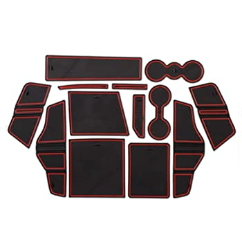 for Ford Explorer 22pcs Door Gate Slot Storage Pad Interior Cup Mats Console Liner Accessories Non-Slip Anti-dust Rubber Red