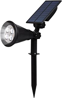 T-SUN Solar Spotlight LED Outdoor Wall Light, IP65 Waterproof, Auto-on at Night/Auto-Off by Day, 180°Angle Adjustable for Tree, Patios, Yard, Garden, Driveway, Stairs, Pool Area (White)