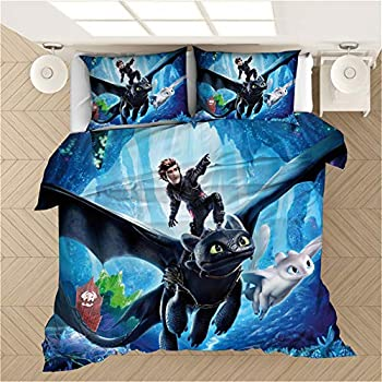 Ntioyg 3D How to Train Your Dragon Cartoons Duvet Cover Bedding Set 100% Microfiber 3 Piece Bedding Sets Duvet Set Includes 1 Duvet Cover and 2 PillowShams with Any Bed Room Guest Room Full Size