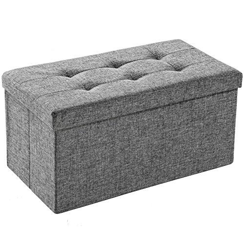 TecTake Tabouret Pliant Cube Pouf dé Pliable Coffre siège de Rangement boîte 76x38x38cm - diverses Couleurs au Choix - (Gris Clair | No. 402238)