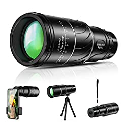 【16x52 HIGH POWER MAGNIFICATION】: 16x52 high powered monocular for adults - a full 16x magnification monocular, provides a clearly and bright image. This monocular telescope has large field of view, just feel free to enjoy bird watching, hunting, hik...