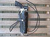 Shotgun Lilli Western Gun Holster - Black - Right Handed - for .22 Caliber Single Action Revolver - Size 6' - Tooled Leather