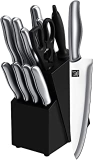 Kitchen Knife Set with Block, J and J 13 Piece Stainless Steel Chef's Knives